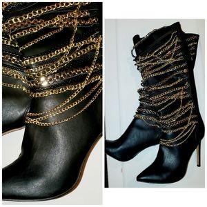 Zigi Girl Knee High Chain Boots sz 10